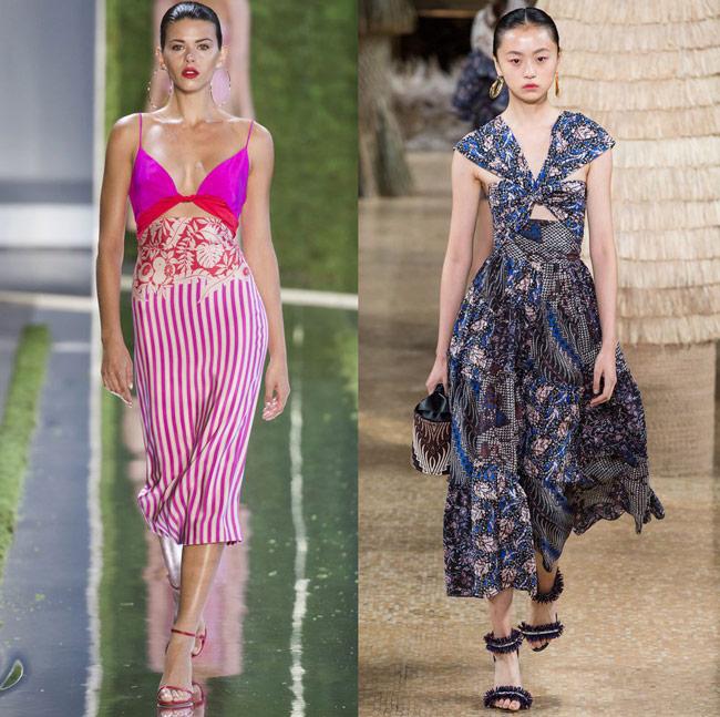 Модели в модных платьях с перекрестным бюстье, весна лето 2019