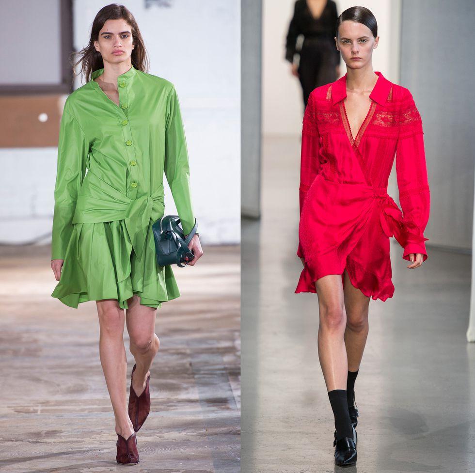 Модели в модных платьях с узлом на поясе