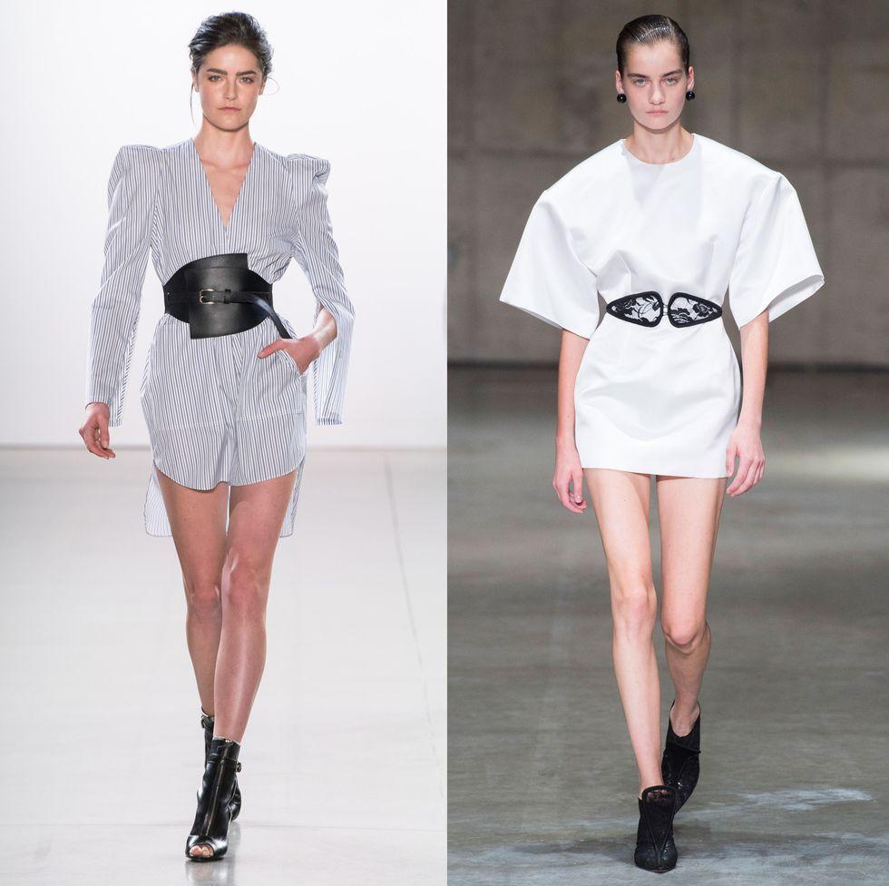 Модели в модных светлых платьях мини с поясом