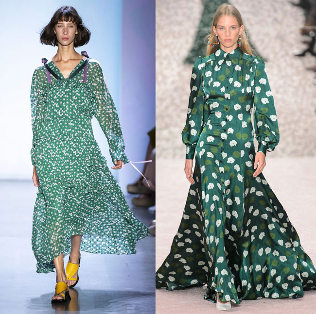 Модели в модных зеленых платьях макси с мелким принтом
