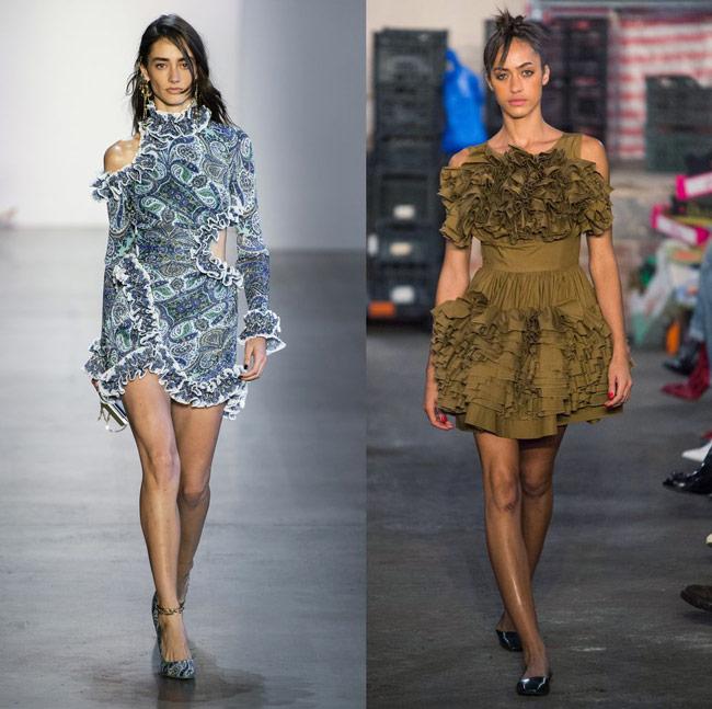 Модели в романтичных платьях мини с рюшами