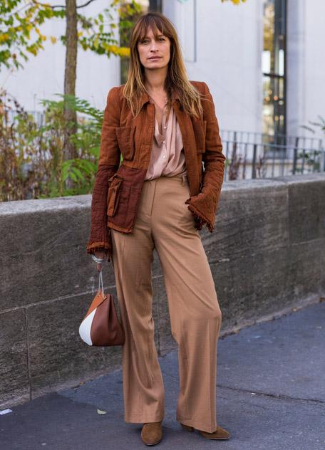 Девушка в бежевых брюках, блузка и коричневая куртка