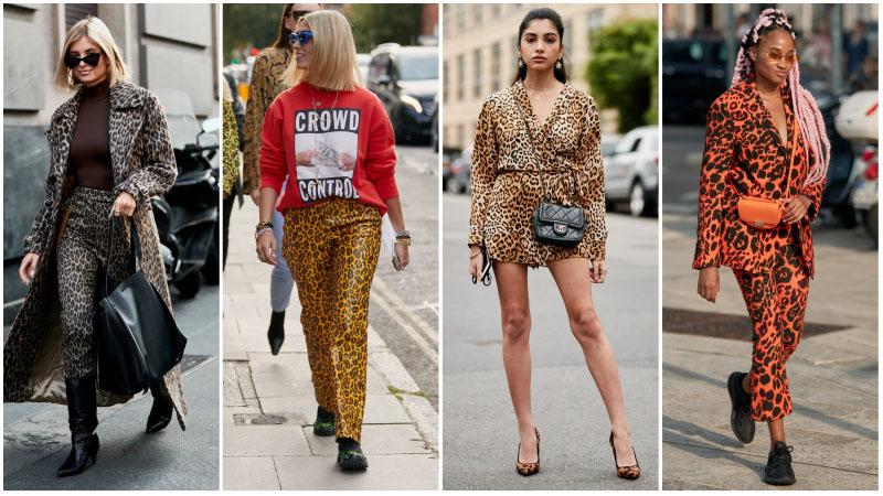 Девушки с одежде с модным леопардовам принтом