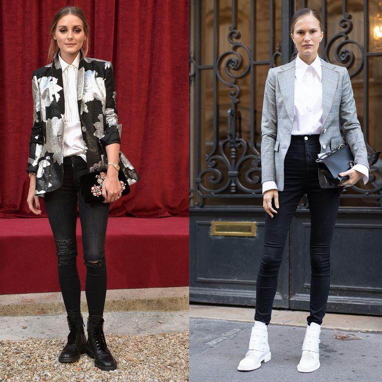 Девушки в черных джинсах скинни, белая рубашка и пиджак
