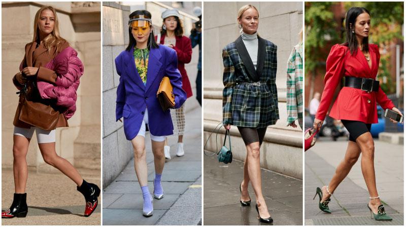 Девушки в модной комбинации велосипедки с блейзером