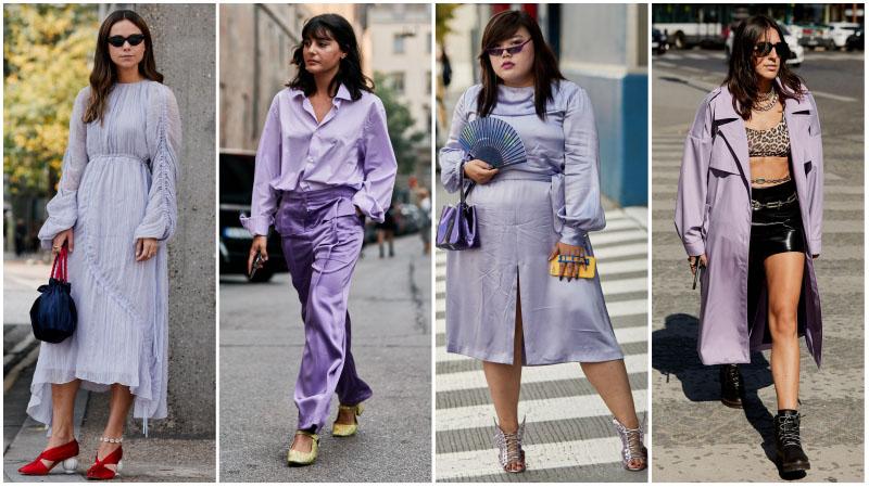 Девушки в одежде модного лавандавого цвета