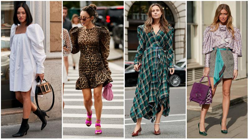 Девушки в платьях с объемными рукавами