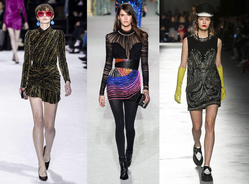 Модели в черных мини платьях с блестками