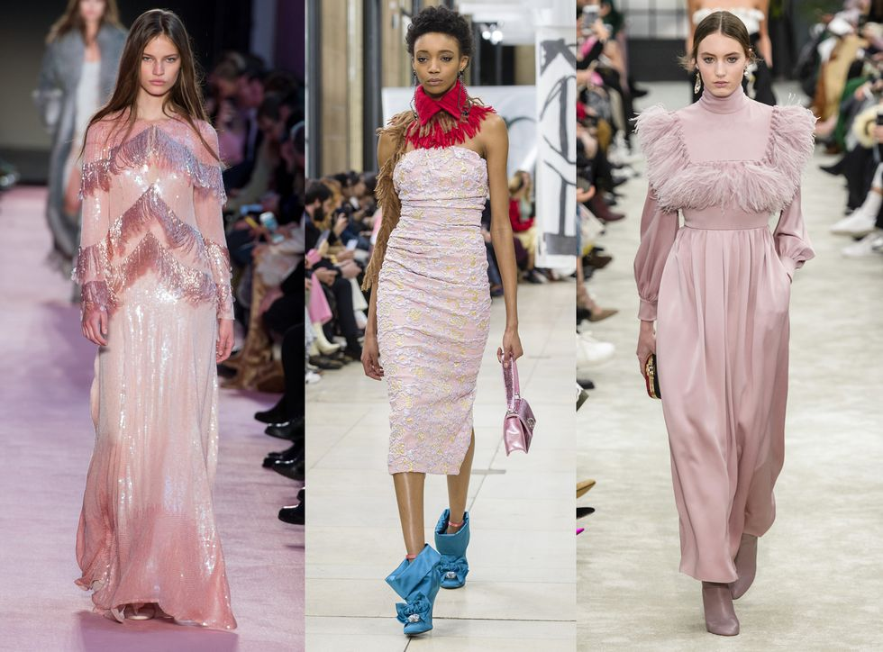 Модели в красивых светло розовых платьях