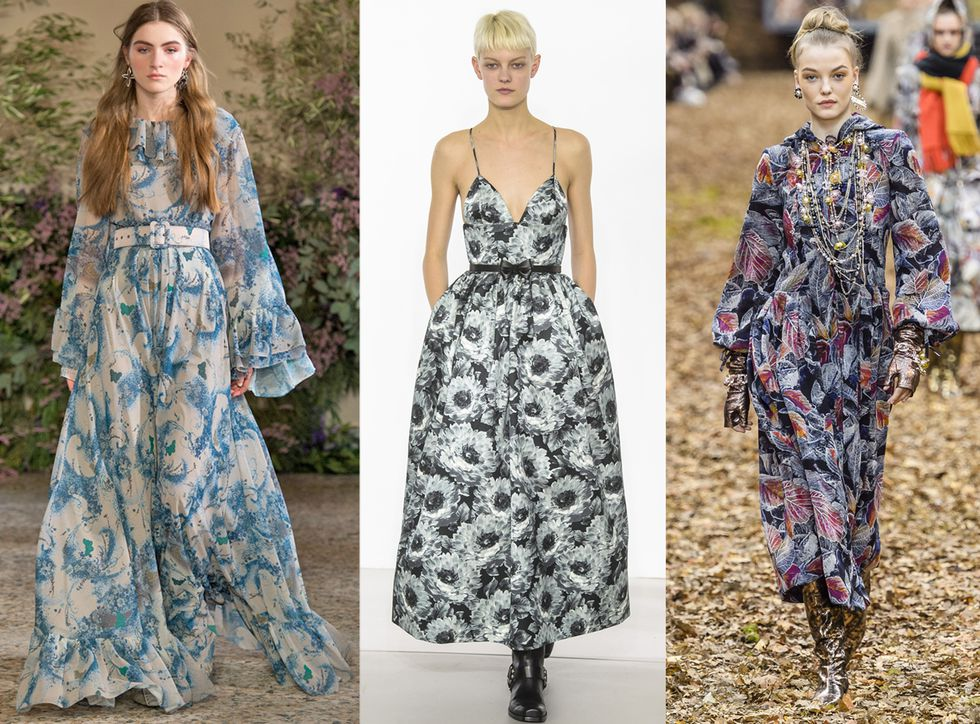 Модели в романтичных платьях максис цветочным принтом