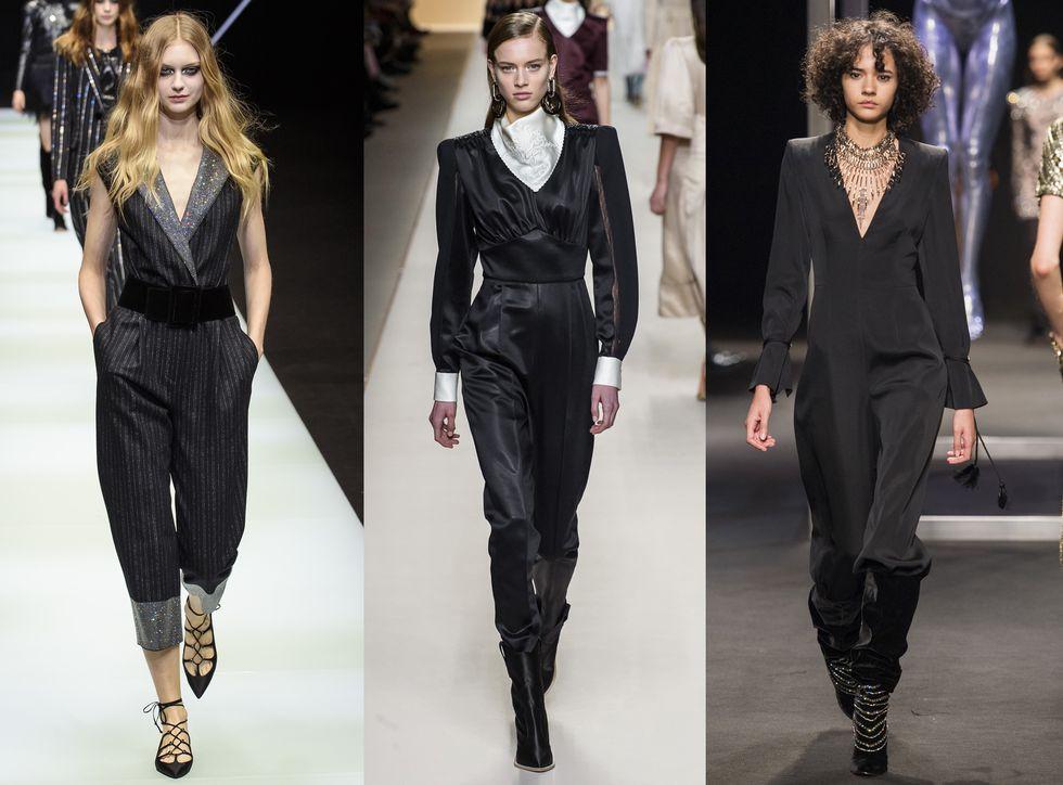 Модели в стильных черных комбинезонах