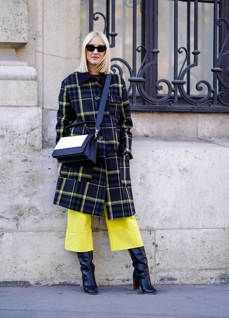 Девушка в желтых кюлотах, пальто в клетку и сапоги на каблуке