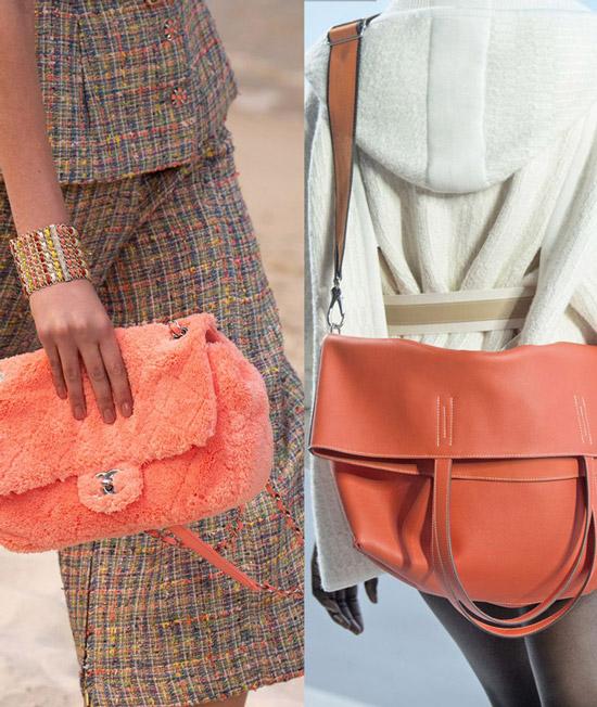 Модели с мягкими сумками кораллового цвета