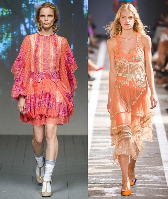 Модели в красивых коралловых платьях