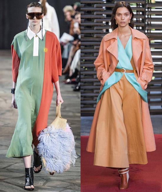 Модели в нарядах с модным оттенком кораллового цвета