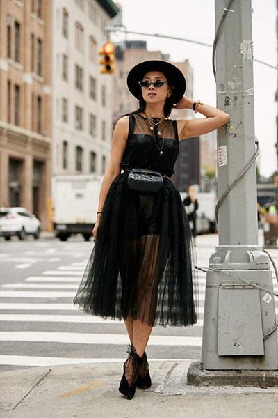Девушка в черном миди платье с прозрачной юбкой