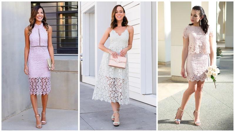 Девушки в красивых кружевных платьях для свадьбы