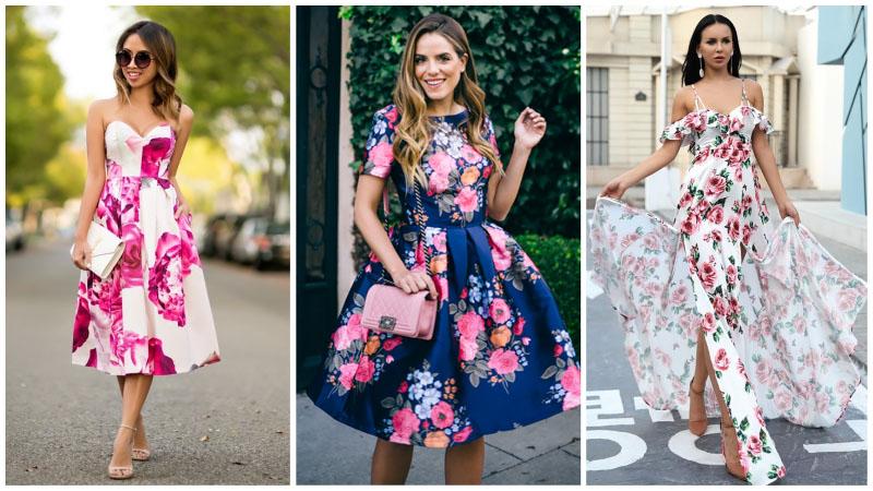 Девушки в красивых платьях с цветочным принтом для свадьбы