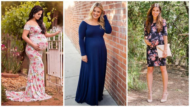 Девушки в платьях для беременных