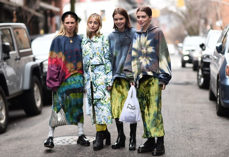Девушки на неделе моды в нью-йорке
