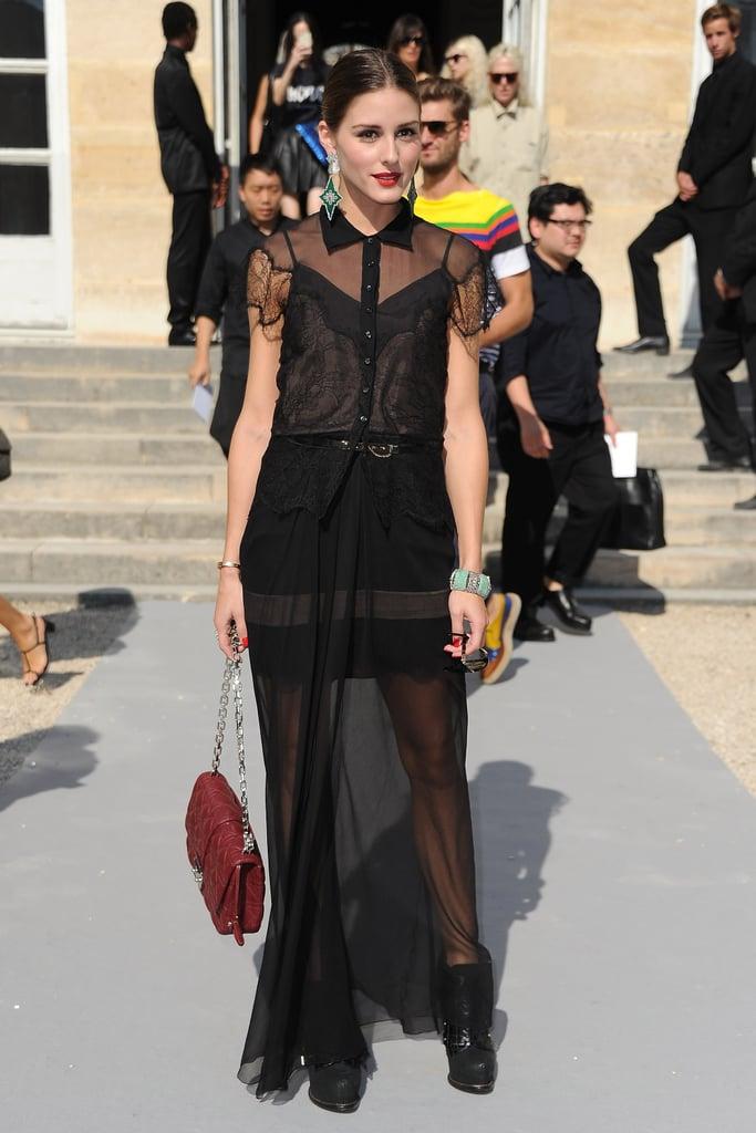 Оливия Палермо в черном полупрозрачном платье макси