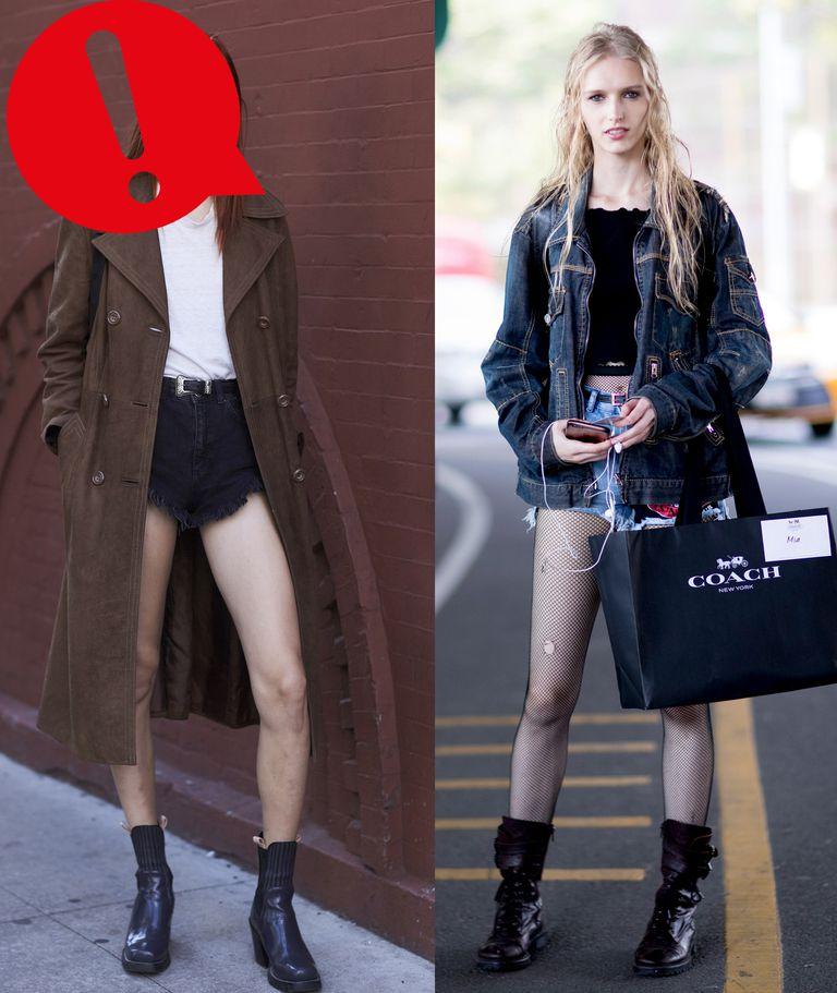 Девушка в джинсовых шортах и коричневом плаще