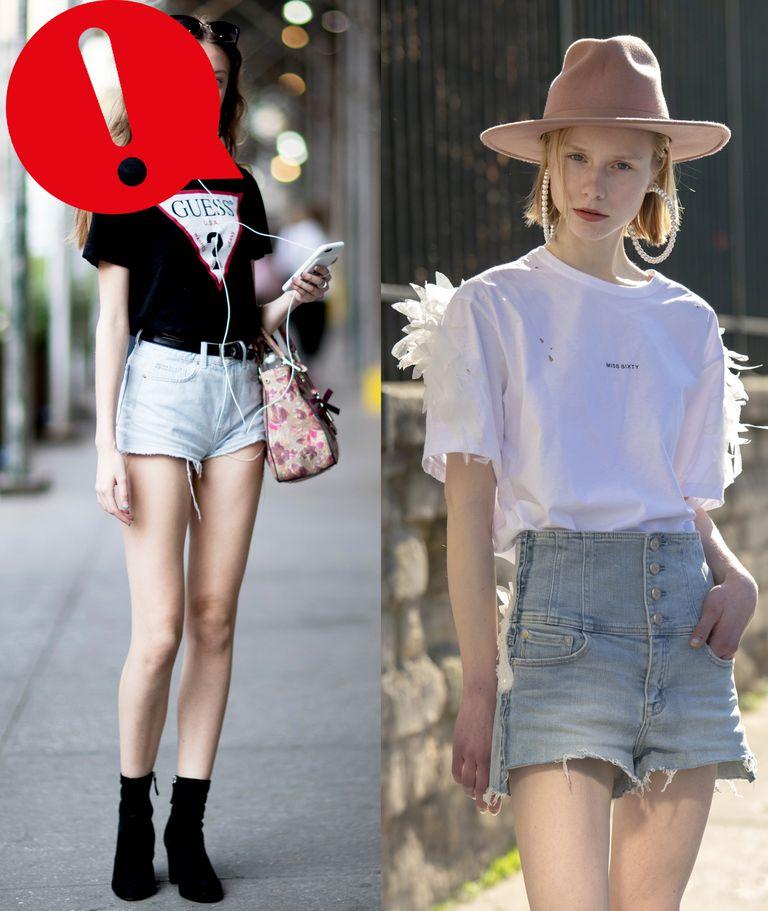 Девушка в голубых джинсовых шортах с высокой талией и белая футболка