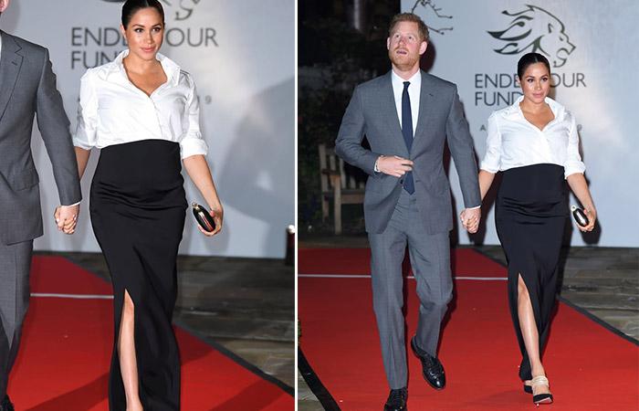 Меган Маркл в длинной юбке и белой рубашке от Givenchy