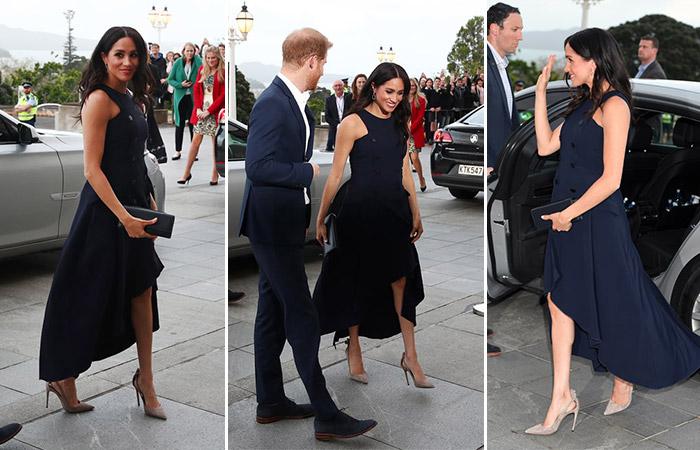 Меган Маркл в красивом черном платье без рукавов и бежевых туфлях
