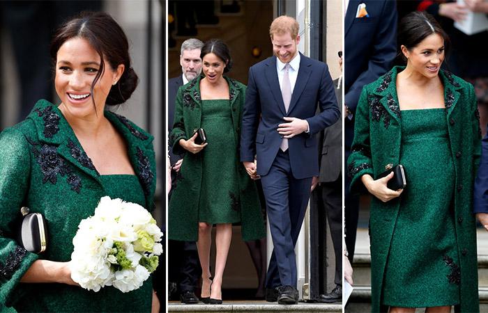 Меган Маркл зеленое платье и пальто