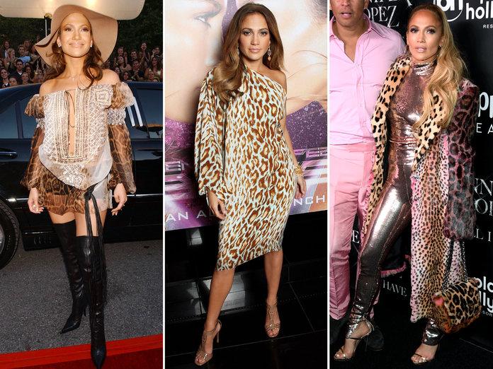 Дженнифер Лопес в нарядах с леопардовым принтом
