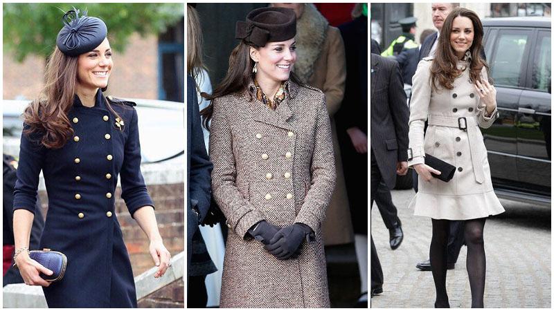 Кейт Миддлтон а двубортном пальто