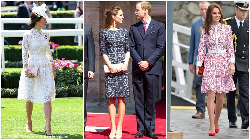 Кейт Миддлтон в нарядных кружевных платьях ниже колена