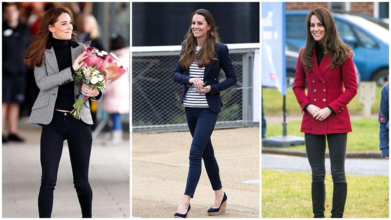 Кейт Миддлтон в облегающих джинсах и блейзере