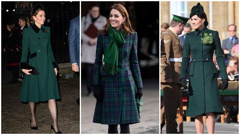 Кейт Миддлтон в темно зеленом пальто ниже колена