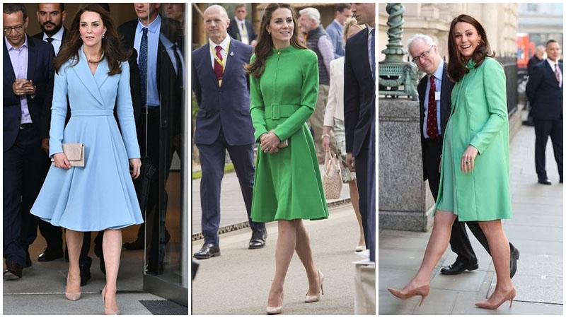 Кейт Миддлтон в зеленом платье миди и бежевых туфлях