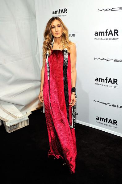 Сара Джессика Паркер в длинном розовом платье с открытыми плечами