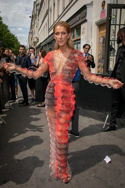 Селин Дион в серо-оранжевом облегающем платье макси