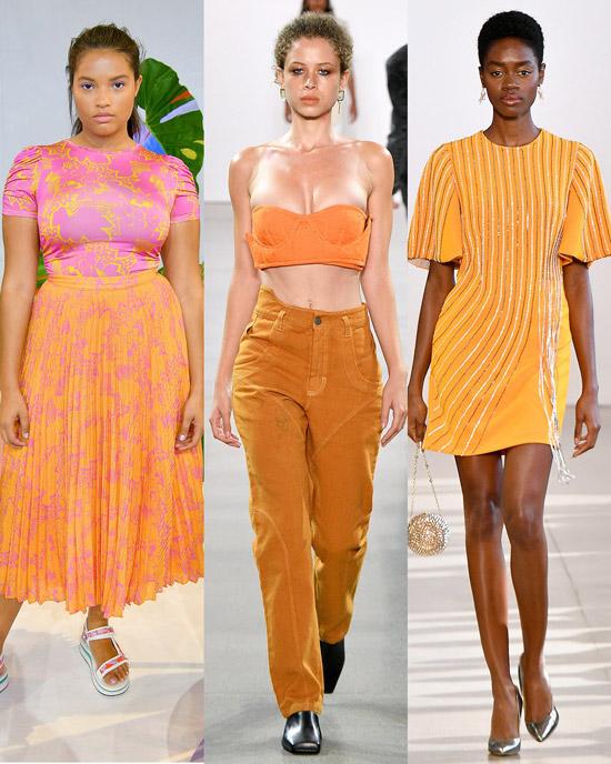 Девушка в модных нарядах мандаринового цвета