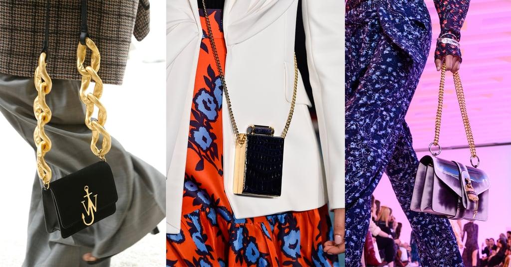 Модели с мини сумочками с цепным ремнем