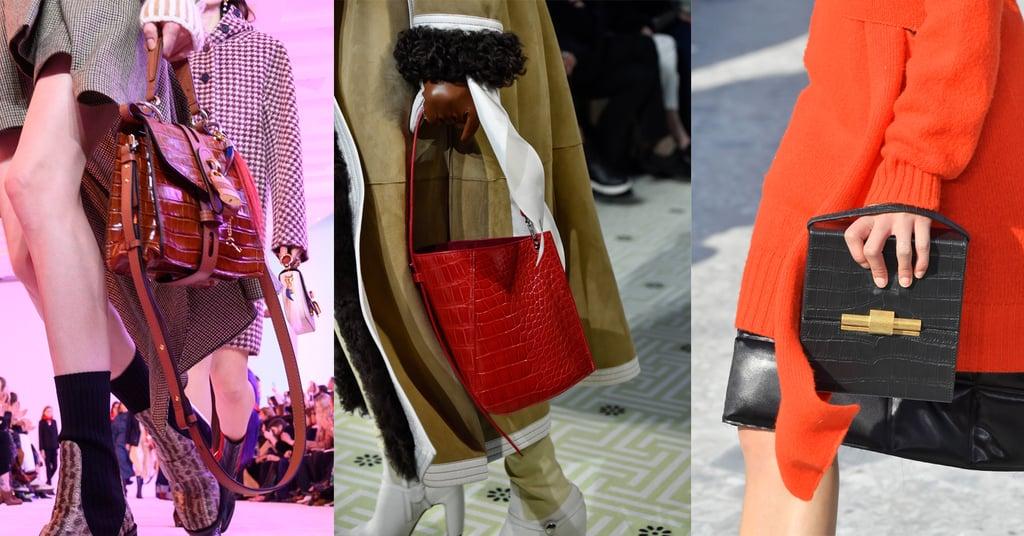 Модели со стильными сумками из кркоодиловой кожи