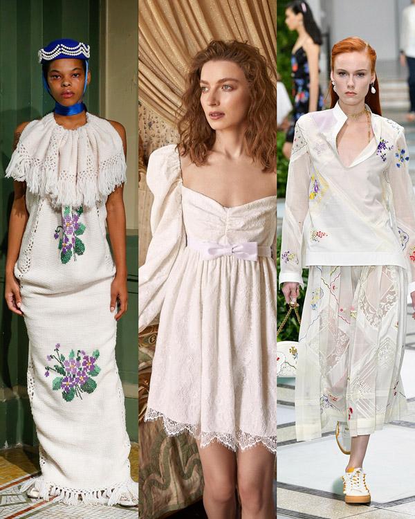 Модели в белых платьях с кружевными вставками