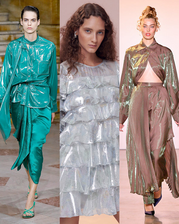 Модели в блестящих нарядах из целлофана