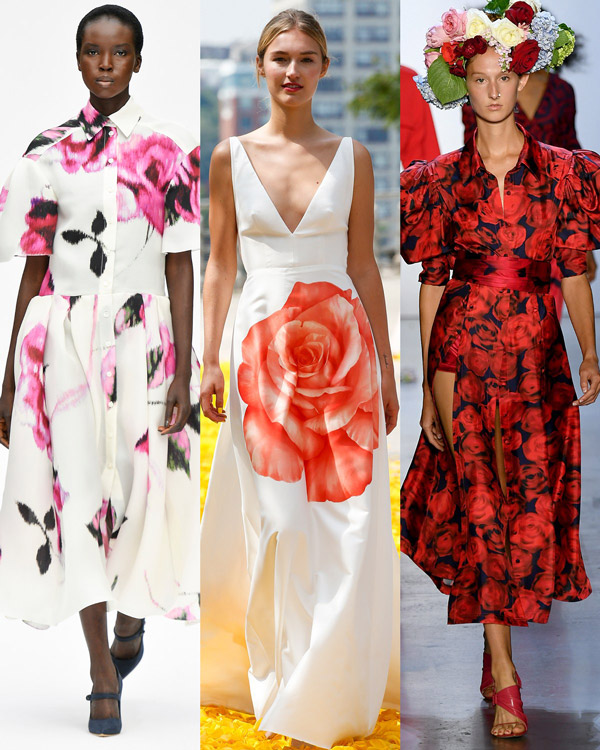 Модели в красивых платьях с цветочным принтом розы