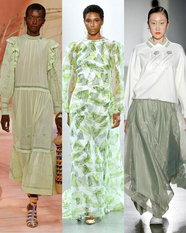 Модели в легких нарядах светлого фисташвого оттенка