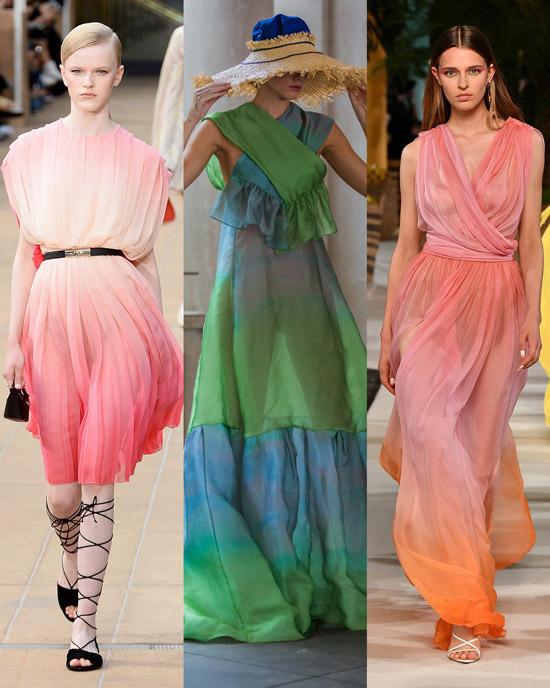 Модели в легких платьях с эффектом омбре
