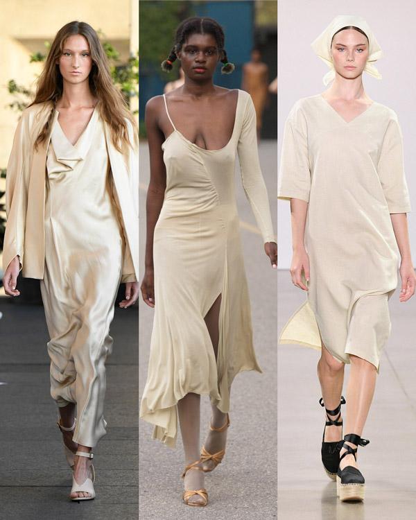 Модели в легких платьях светло-желтого цвета