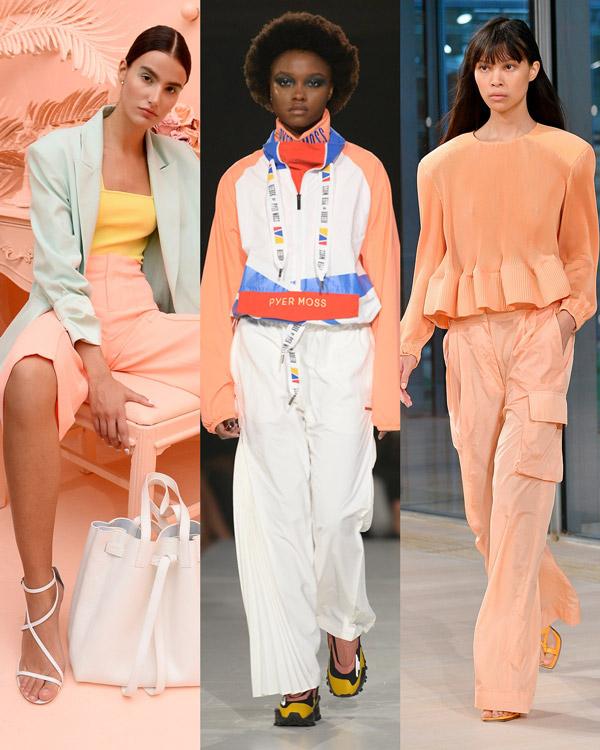 Модели в нарядах нежного персиково-розового цвета