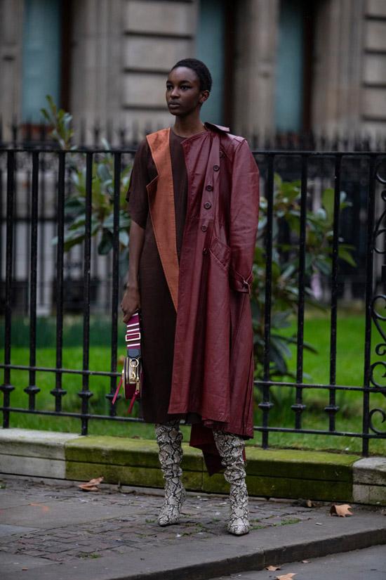 Девушка в коричневом платье, бордовый кожаный плащ и сапоги со змеиным принтом