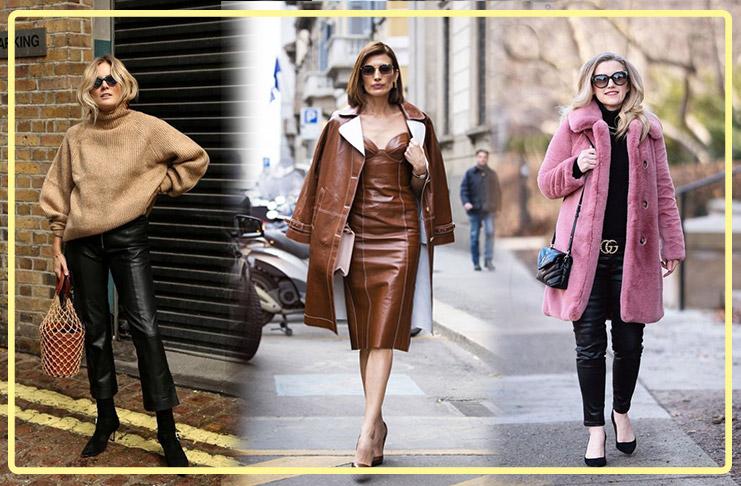 Осенние образы с кожей для женщин 40+